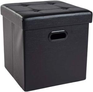 Theo&Cleo Sitzhocker Sitzwürfel Fußhocker mit Stauraum Aufbewahrungsbox Truhen faltbar, Deckel abnehmbar, mit Griffe, Gepolsterte Sitzfläche aus Kunstleder,38 x 38 x 38 cm(Schwarz)