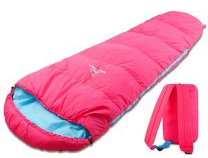 MOUNTREX® Kinderschlafsack - Tragbar wie ein Rucksack - Schlafsack für Kinder (175 x 70 x 45 cm) - Outdoor, Reise, Zelten, Camping – Mumienschlafsack Leicht & Kompakt - 100% Baumwolle Innenfutter - (Rosa/Blau)