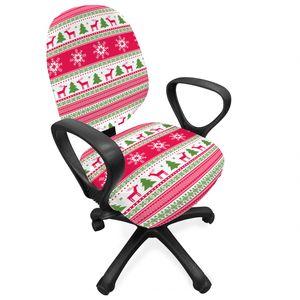 ABAKUHAUS nordisch Bürostuhl Schonbezug, Needlework Stil Weihnachten, dekorative Schutzhülle aus Stretchgewebe, Rosa Kalk-Grün Weiß