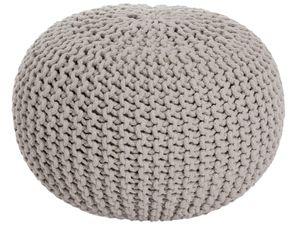 Sitzpouf Strickhocker Grobstrick handgeknüpft Ø 55 cm beige
