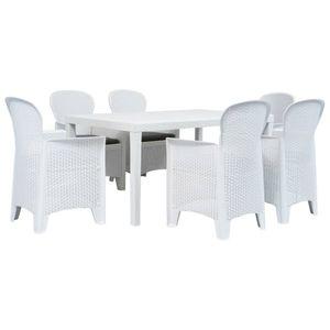 7-teiliges Outdoor-Essgarnitur Garten-Essgruppe Sitzgruppe Tisch + stuhl Kunststoff Weiß Rattan-Optik