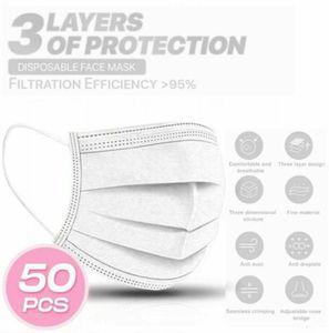50 Stück Weiß Einwegmasken Kinder Gesichtsmaske Einweg-3-lagige Mundmaske für Jungen /Mädchen