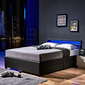 LED Bett NUBE mit Schubladen - 140 x 200 cm Dunkelgrau