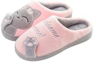 Kuschelige Katze Pantoffeln Warm Plüsch Hausschuhe Winter Bequeme Rutschfeste Slippers Herren Damen