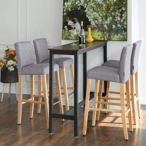 SONGMICS Barhocker 2er Set, Sitzhöhe 76 cm, gepolsterte Barstühle mit Rückenlehne und Fußstütze, Baumwoll-Leinenstoff,  Beine aus Massivholz, mit verstellbaren Füßen,hellgrau-naturfarben LDC31GYX