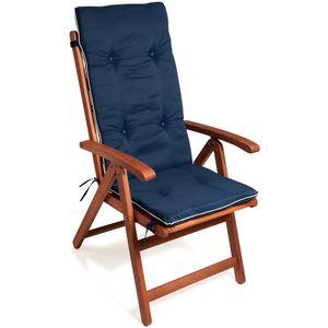 Detex Stuhlauflage Vanamo 6er Set Wasserabweisend Hochlehner Auflage Sitzauflage Stuhlkissen Polsterauflage, Farbe/Muster:blau