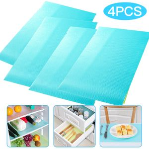 Kühlschrankmatten, 4 Stück Antibakterielle Wiederverwendbare Feuchtigkeit Matten Kühlschrank Pad, rutschfest abwaschbare und DIY zuschneidbare Kühlschrank Matte Blau(45*30cm)