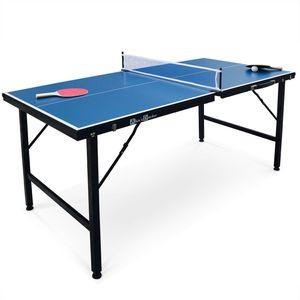 INDOOR Mini Tischtennisplatte Ping Pong 150x75cm - blauer Klapptisch, mit 2 Schlägern und 3 Bällen, für den Innenbereich, zusammengeklappt als Koffer, Tischtennissport