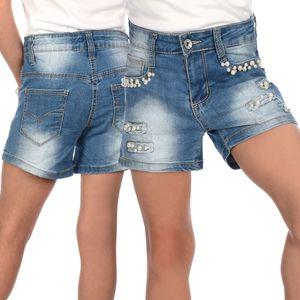 Fire Fire Mädchen Jeans Shorts mit Riss Akzenten Blau 116