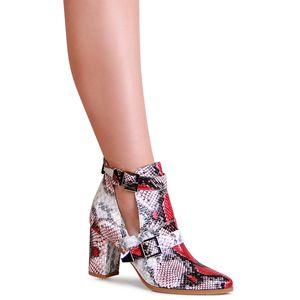 topschuhe24 2007 Damen Stiefeletten Ankle Boots Cut Out, Farbe:Rot, Größe:38 EU