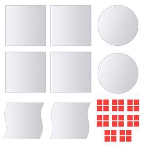 Moderne - 8-tlg. Spiegelfliesen-Set Verschiedene Formen Glas