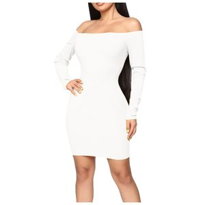 Damenmode Sexy Slim Fit Einfarbiges Langarm-Ein-Schulter-Kleid Größe:S,Farbe:Weiß