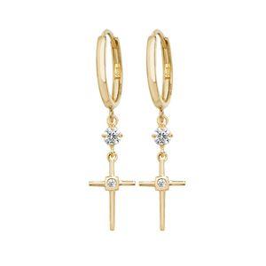 Moderne 9 Karat (375) Gold kreuz Damen - Paar Ohrringe mit Zirkonia; WJS20298