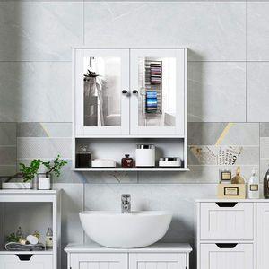 Spiegelschrank Badezimmer  Badschrank mit Spiegel  ängeschrank Badmöbel, Badezimmerspiegelschrank 56x58x13cm weiß