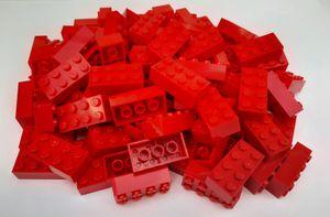 Lego© Steine 100 rote originale basic Bausteine mit 2*4 Noppen + Steinetrenner *neu und unbespielt*