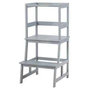 COSTWAY 2 Stufen Lernturm, Lerntower bis zu 70kg belastbar, Kinder Tritthocker aus Bambus, Lernstuhl Küchenhelfer, Kinder Schemel für Kinder im Alter von 18-36 Monaten (Grau)