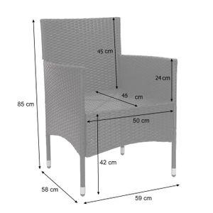 Poly-Rattan Garnitur HWC-F55, Balkon-/Garten-/Lounge-Set Sofa Sitzgruppe  schwarz, Kissen dunkelgrau
