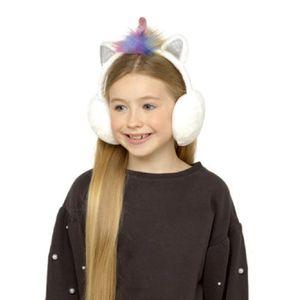 Mädchen Ohrenwärmer im Einhorn-Design 499 (Einheitsgröße) (Weiß)