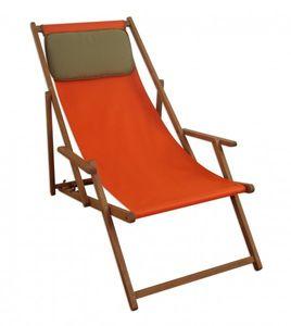 Strandstuhl terracotta Gartenstuhl Sonnenliege Deckchair Buche dunkel Kissen klappbar 10-309 KD