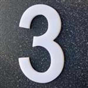 """Hausnummer """"Grado"""" - Acryl massiv 10 mm - weiß - Gr. XL 20 cm - Nr. 3"""