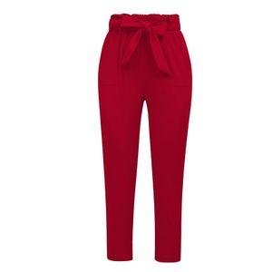 Frauen Hohe Taille Gürtel Hosen Sommer Herbst Lässige Bleistifthose Chic Red XXXL Farbe Rot XXXL