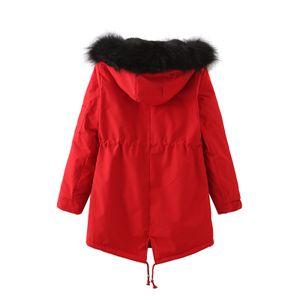 Frauen Winter lange Verdickung und Samt halten warmen lässigen Mantel mit Hut Größe:XXXL,Farbe:Rot