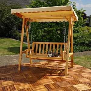 Hollywoodschaukel Gartenschaukel Hängeschaukel Schaukelbank Holz Dach Schaukel