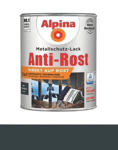Alpina 2,5 L. Anti-Rost Metallschutz-Lack, 3in1, RAL 7016 Anthrazitgrau Matt