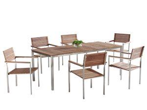 Gartenmöbel Set Braun Teakholz Edelstahl 200 cm 6 Stühle Terrasse Outdoor Modern