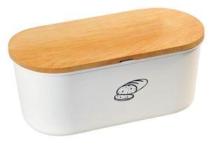 Kesper Brotbox aus Melamin, 33,5 x 18 x 14 cm, oval, mit em Bambusdeckel, 2in1 - Deckel und Schneidbrett, in weiß