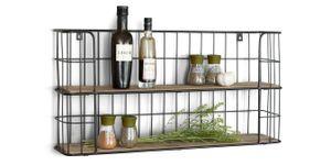 LIFA LIVING Küchenregal aus Holz und Metall Schwarz mit 2 Böden, Wandregal mit 2 Etagen, Regal für Küche, Gewürzregal an Wand, 66,5 x 14,3 x 33,6 cm