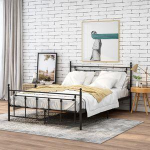 Merax Metallbett Doppelbett 140 x 200cm Hochwertiger Bettgestell mit Lattenrost, Bett mit Kopf- und Fußteil für Schlafzimmer, Schwarz