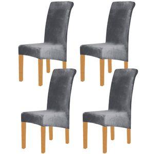 Samt Elasthan Stuhlhussen für Esszimmer 4er-Set, Soft Stretch Stuhlschutz Schonbezüge, abnehmbar und waschbar, groß, grau