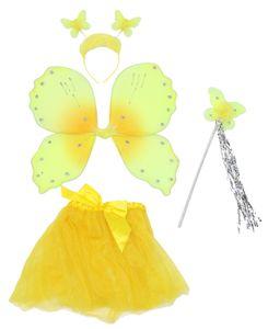 Schmetterlingsset gelb Schmetterlingskostüm Mädchen Flügel