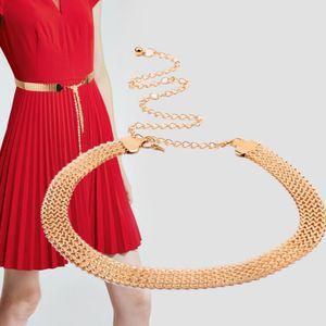 Damen Gold Dekorativ Metall Taillengürtel Kette Kleidgürtel Hüftgürtel Hüftgurt Punk Gothic Partygürtel