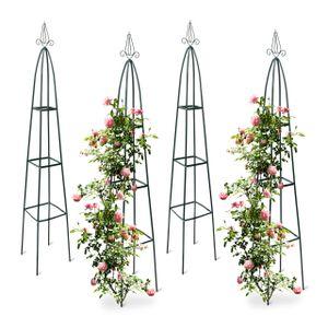 relaxdays 4x Rankgitter Rankhilfe Garten Obelisk Rosenbogen Kletterhilfe Rankstab Metall