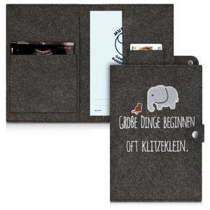 kwmobile Mutterpasshülle aus Filz - Hülle für deutschen Mutterpass mit extra Fächern - Cover Elefant Klitzeklein