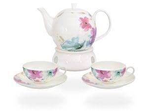 Buchensee Teeservice / Teeset / Teekanne 1,5 liter mit Stövchen und 2 Tassen je 150ml, Blumendeko, Fine Bone China