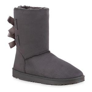 Giralin Damen Warm Gefütterte Schlupfstiefel Bequeme Schleifen Schuhe 836592, Farbe: Grau, Größe: 39