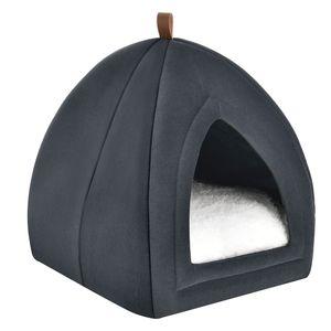 Juskys Katzenhöhle Gismo 36x36x38 cm mit herausnehmbarem Kissen & rutschfestem Boden – Schlafplatz für Katzen – dunkelgrau – Katzenhaus Kuschelhöhle