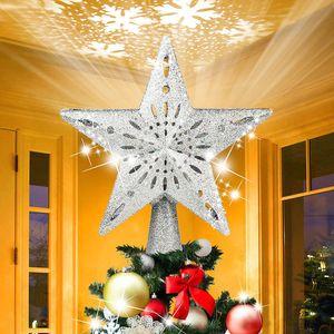 Weihnachtsbaumspitze Silber Stern LED Schneeflocke Projektor Christbaumspitze Licht Christbaumschmuck