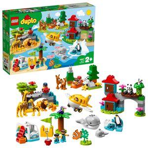 LEGO 10907 DUPLO Town Tiere der Welt, Lernspielzeug für Kleinkinder im Alter von 2 - 5 Jahren, mit Flugzeug und 15 Tierfiguren