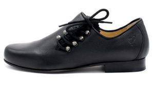 Trachtenschuh Haferlschuhe Hans 571-H mit Ledersohle schwarz , Schuhgröße:46