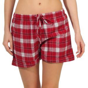 Damen Shorty Flanell Schlafanzughose Pyjamahose kurz Shorts,  Pants kariert - 48173, Farbe:rot, Größe:44/46