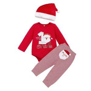 Baby Junge Mädchen  Unisex Weihnachten Bedruckt Langarm Strampler Top + Hose Leggings mit Mütze Neugeborenes Winter Warme Kleidung Outfits Set, Rot, 3-6M