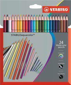 Aquarell-Buntstift - STABILO aquacolor - 24er Pack - mit 24 verschiedenen Farben