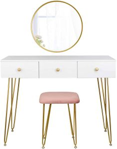 WOLTU Schminktisch mit Spiegel Sitzhocker Frisiertisch mit Schubladen Modern Kosmetiktisch für Schlafzimmer weiß