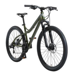 BIKESTAR Hardtail Aluminium Mountainbike 27.5 Zoll, 21 Gang Shimano Schaltung mit Scheibenbremse | 17 Zoll Rahmen MTB Erwachsenen- und Jugendfahrrad | Oliv & Grün