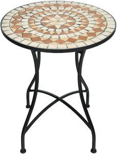 COSTWAY Runder Mosaiktisch, Retro Mosaik Beistelltisch mit Metallgestell & rostbeständiger Beschichtung, Metalltisch Kaffeetisch für Garten Terrasse Wohnzimmer