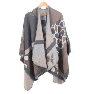 Frauen Winter warm übergroße Druckdecke Cape Wraps Schal Strickjacken Größe:Einheitsgröße,Farbe:Taupe
